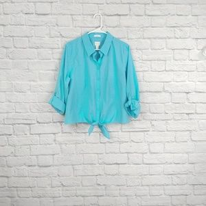 Chico's Turquoise Tie Bottom Button Button Down
